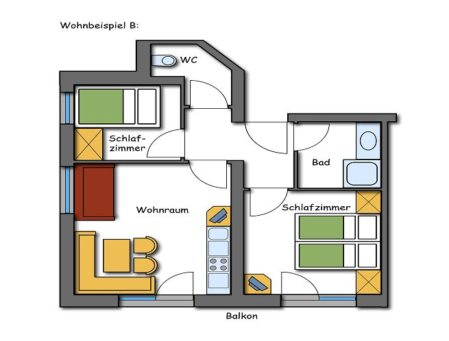 Grundriss Plan Appartements Kategorie B